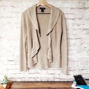 WHBM Soft Wool Blend Gold Weave Waterfall Cardigan